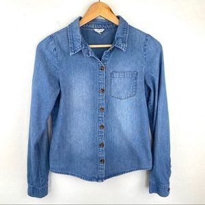 Forever 21 H81 denim button up shirt small